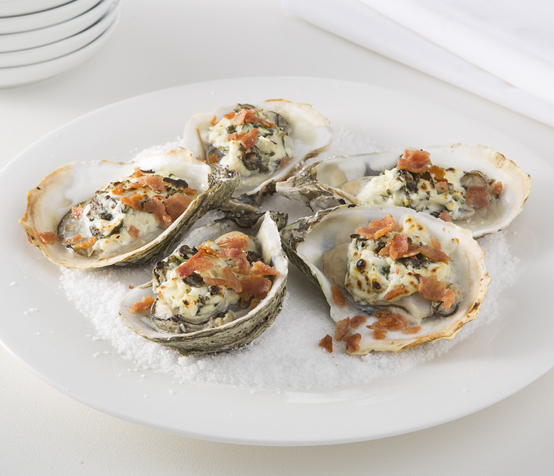 Oysters Rockefeller with Chicken Bacon